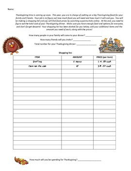 Thanksgiving Dinner Decimal Activity- Planning and paying for dinner