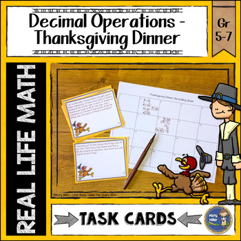 Thanksgiving Math Decimal Task Cards