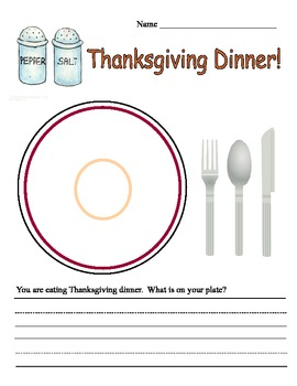 Thanksgiving Dinner Describe and Write Template for Primary Grades