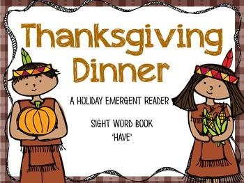 Thanksgiving Dinner - Emergent Reader Freebie