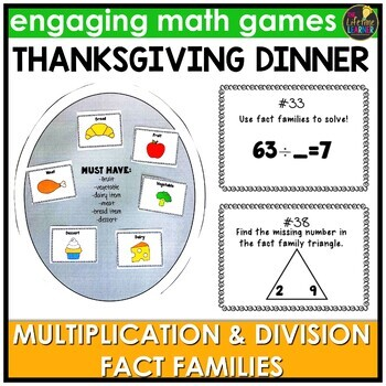 Fact Families Multiplication and Division Game