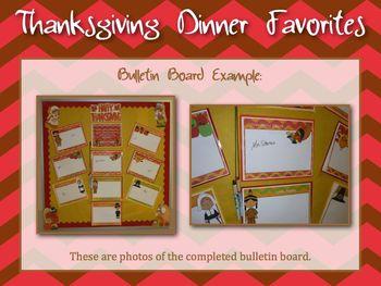 Thanksgiving Dinner Favorites Interactive Bulletin Board