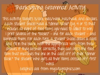 Thanksgiving Dinner Grammar Activity!