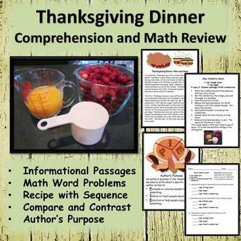 Thanksgiving Dinner Worksheets Informational  Passages - Math and Reading