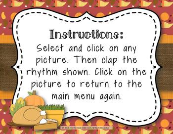 Thanksgiving Dinner! Interactive Rhythm Game to Practice Ti-tika (8th-2 16ths)