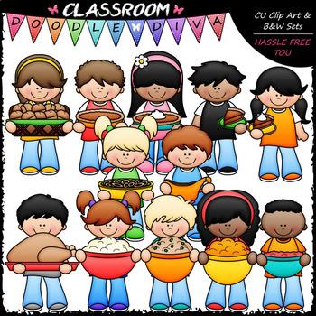 Thanksgiving Dinner Kids - Clip Art & B&W Set