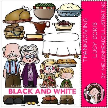 Thanksgiving Dinner clip art - Lucy Doris - BLACK AND WHITE- by Melonheadz