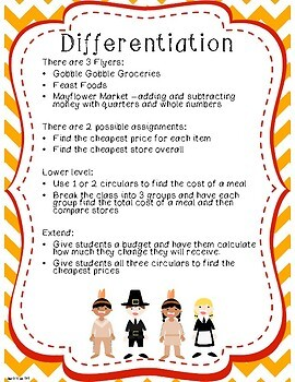 Thanksgiving Dinner Math Challenge - Whole Numbers and Money with Quarters