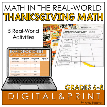 Thanksgiving Math Activities for Grades 6-8: Percent of Change, Graphing & More!