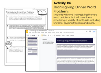 Thanksgiving Math Project and Activities