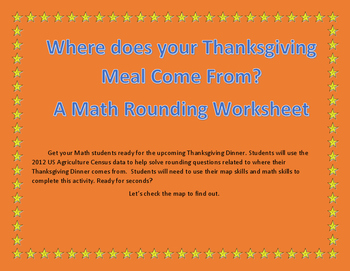 Thanksgiving Dinner Math Rounding Worksheets, with Maps!