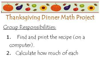 Thanksgiving Dinner Math/Literature Project