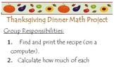 Thanksgiving Dinner Math/Literature Project