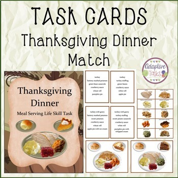 TASK CARDS Thanksgiving Dinner Match