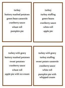 Thanksgiving Dinner Match Task Cards