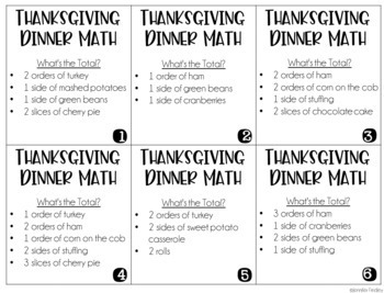 Thanksgiving Dinner Menu Math: Common Core Aligned Math Center Activities