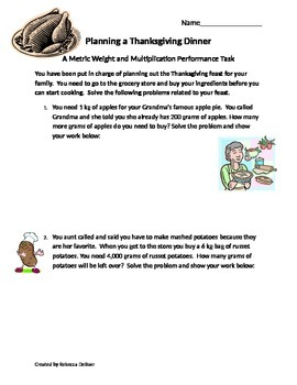 Thanksgiving Dinner: Metric Weight and Multiplication Performance Task