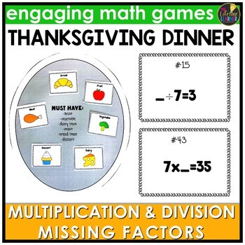 Thanksgiving Missing Factors Multiplication and Division Game