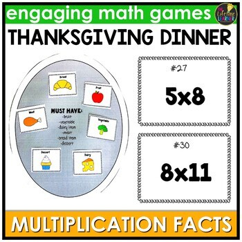 Thanksgiving Multiplication Facts Game