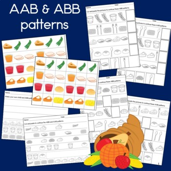 Thanksgiving Dinner Patterns Math Center with AB, ABC, AAB & ABB Patterns