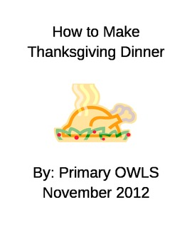 Thanksgiving Dinner Recipe Cards - writing activity