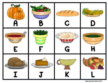 Thanksgiving Dinner: Roll, Say, Keep! Alphabet Center, Games, and Printables
