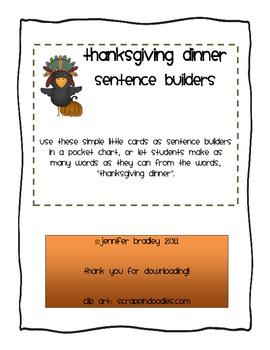 Thanksgiving Dinner Sentence Builder