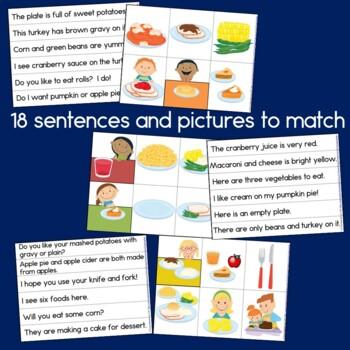 Thanksgiving Dinner Sentence Picture Match Reading Center