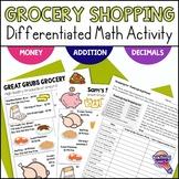 Thanksgiving Dinner Shopping Trip Decimal Math Activity w DIfferentiation