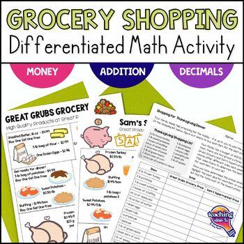 Thanksgiving Dinner Shopping Trip Decimal Math Activity w