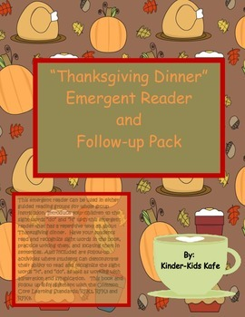 Thanksgiving Dinner Sight Word Emergent Reader and Follow Up Pack