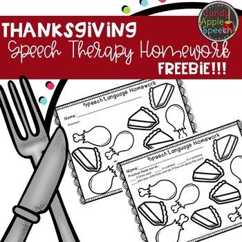 Thanksgiving Dinner Speech/Language Homework Freebie!
