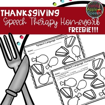 Thanksgiving Dinner Speech/Language Homework Freebie!