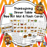 Thanksgiving Dinner Table Bee Bot Mat and Flash Cards
