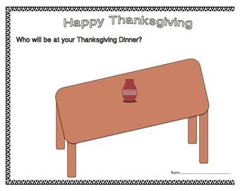 Thanksgiving Dinner Table Drawing