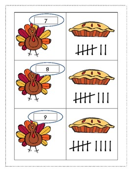 Thanksgiving Dinner Tally Mark Game