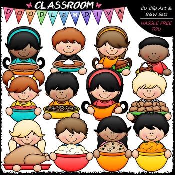 Thanksgiving Dinner Topper Kids Clip Art - Thanksgiving Toppers Clip Art & B&W