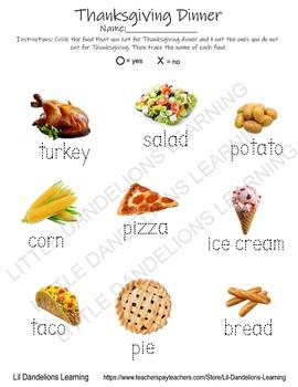 Thanksgiving Dinner Tracing