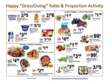 Thanksgiving Dinner:  Unit Rate, Ratio, Proportion