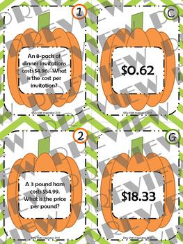 Thanksgiving Dinner Unit Rates Matching Card Set
