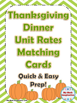 Thanksgiving Dinner Unit Rates Matching Card Set