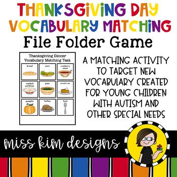Thanksgiving Dinner Vocabulary Folder Game for Special Education