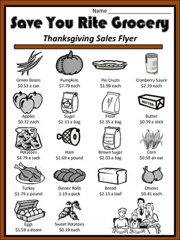 Thanksgiving Activities - Thanksgiving Dinner Word Problems