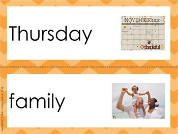 Thanksgiving Dinner Vocabulary Word Wall