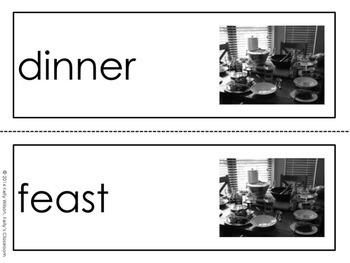 Thanksgiving Dinner Vocabulary Word Wall