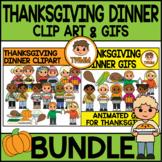 Thanksgiving Dinner l Clip Art & GIF Bundle l TWMM