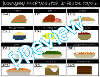 Thanksgiving Dinners for the Rich and Famous: A Rounding Review Activity