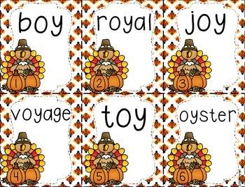 Thanksgiving Diphthongs ~ ew, ow, ou, oi, & oy!