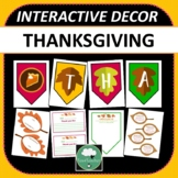 Thanksgiving Display & Activity Pack- Colorful Banner, Board, Leaves, Activities
