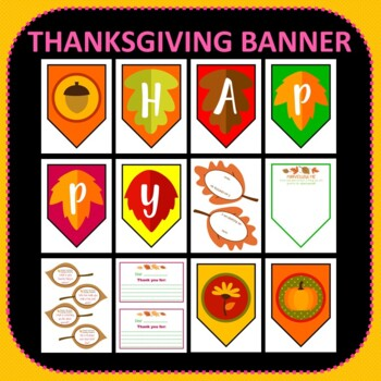 Thanksgiving Display and Activities Pack Banner Writing Prompts Art